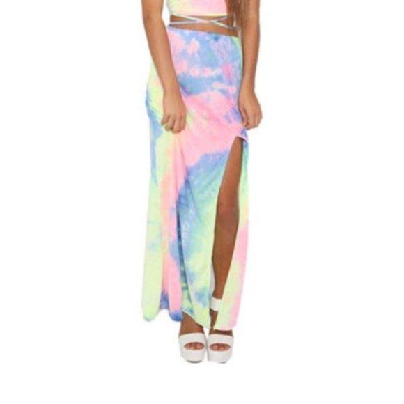 Tie dye side front split beach skirt summe…